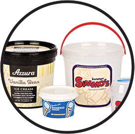 Ice cream plastic containers
