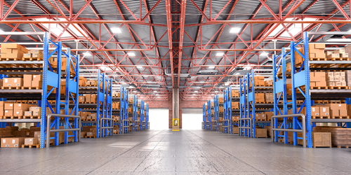 warehouse with stack racks