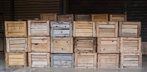 empty wooden crates at market