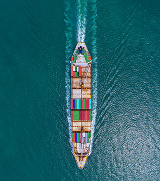 import export container ship open water