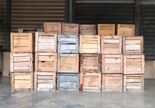 wooden crates boxes fruits veggies