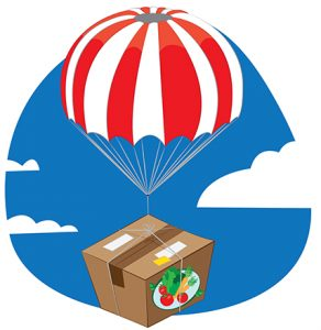 Cartoon-box-of-veggies-being-dropped-via-parachute