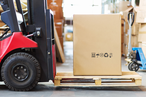 Forklift-carrying-large-Gaylord-box