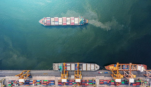 container ship exporting goods