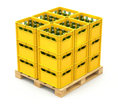 large-yellow-stackable-industrial-bin-on-white-background