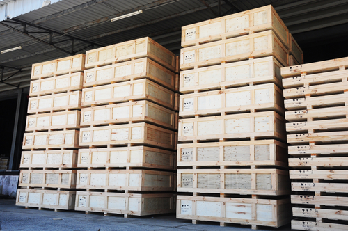 Cargo in wooden case at warehouse