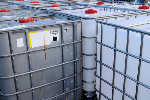 closeup view of ibc containers