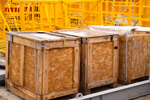 wooden boxes with industrial equipment