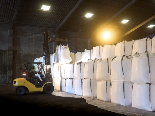 jumbo bags stored in warehouse