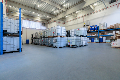 Warehouse with chemicals in IBC containers
