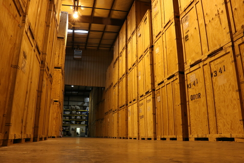 large hall of wooden crates
