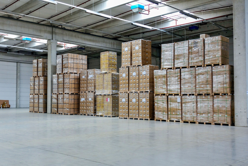 stack of cartons in warehouse