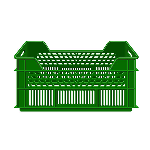 empty plastic fruit crate isolated
