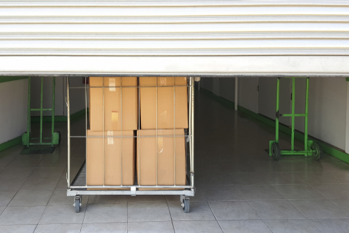 self storage facility entrance with boxes