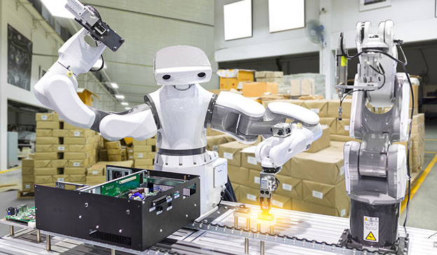 industrial robot installing computer chip