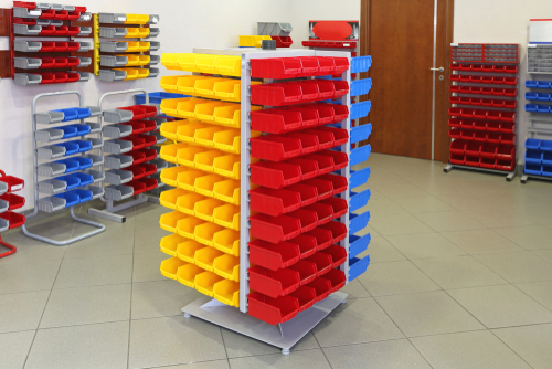 Universal Storage Organizer Rack With Plastic Bins and Boxes