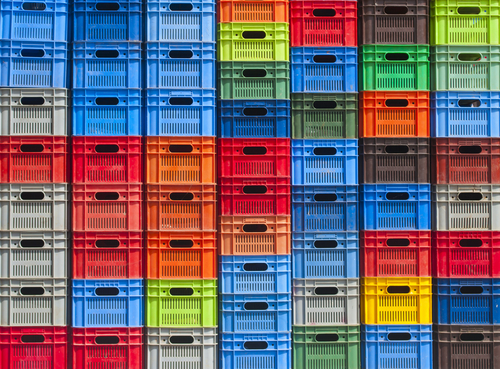 colorful plastic boxes stacked