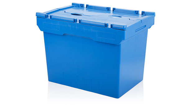 blue plastic container with lid closed