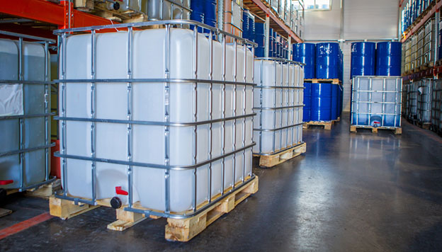durable plastic bulk containers in a warehouse