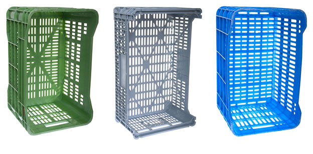 multi colored set of plastic baskets