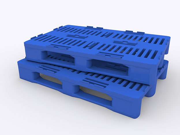stack of two nesting plastic pallets