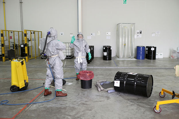 Chemical spill work in factory