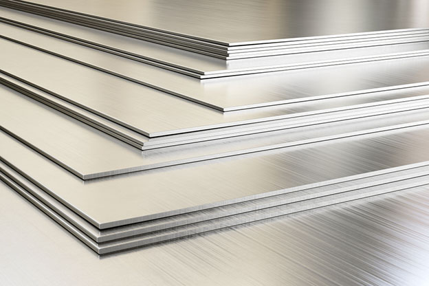 Steel sheets in warehouse