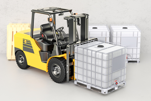 forklift carrying ibc tote