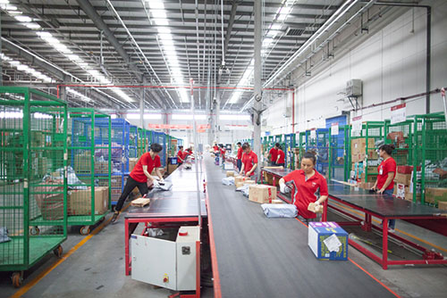 warehouse staff sorting products