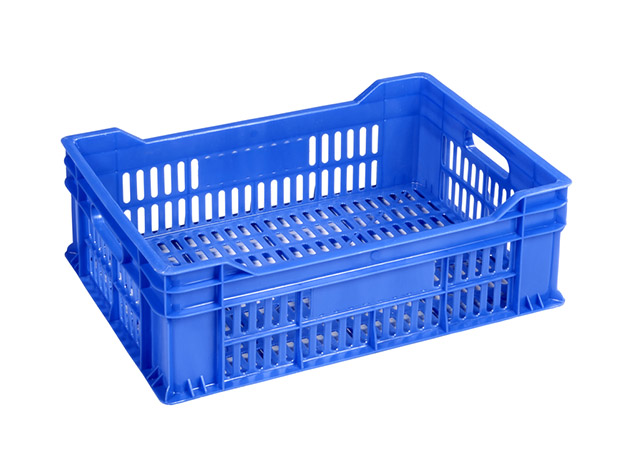 Empty blue crate