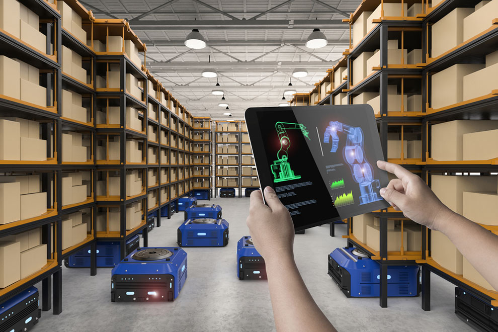 warehouse with robots on floor