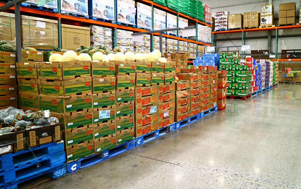 food stacked on pallets