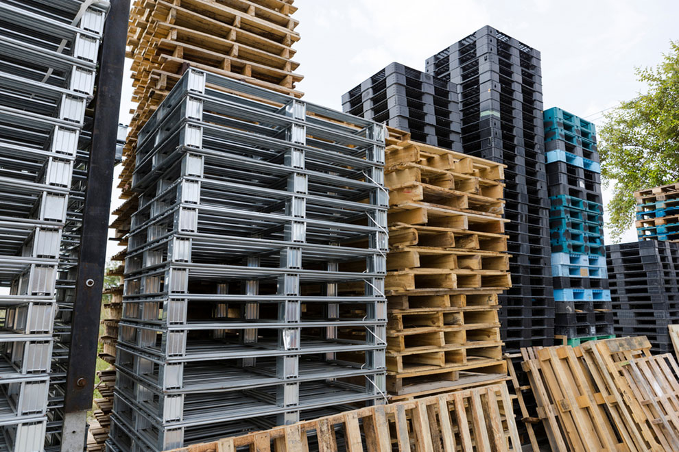 stacks of various pallets