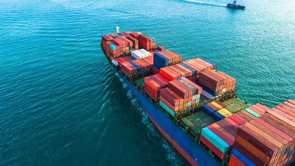 Aerial view container cargo ship