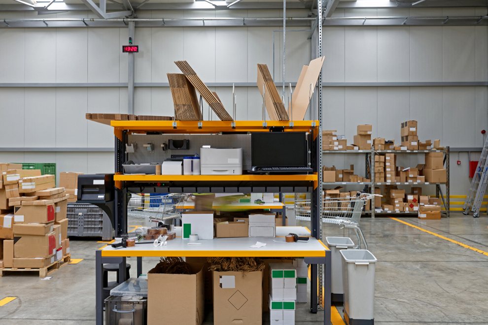 a packing table for order fulfillment