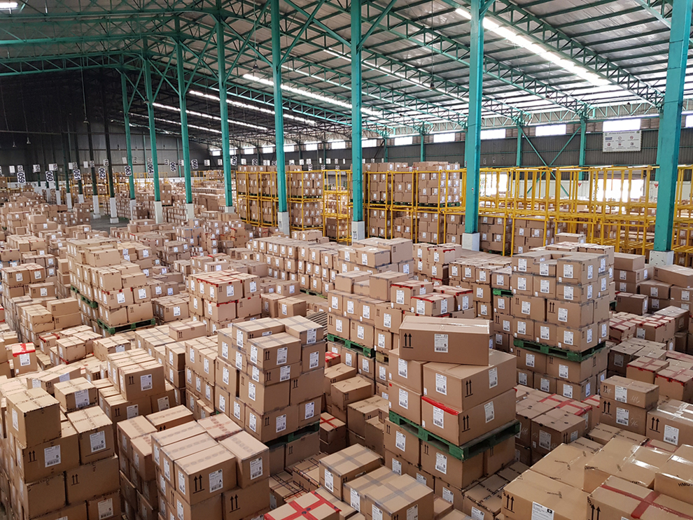 a warehouse full of cargo
