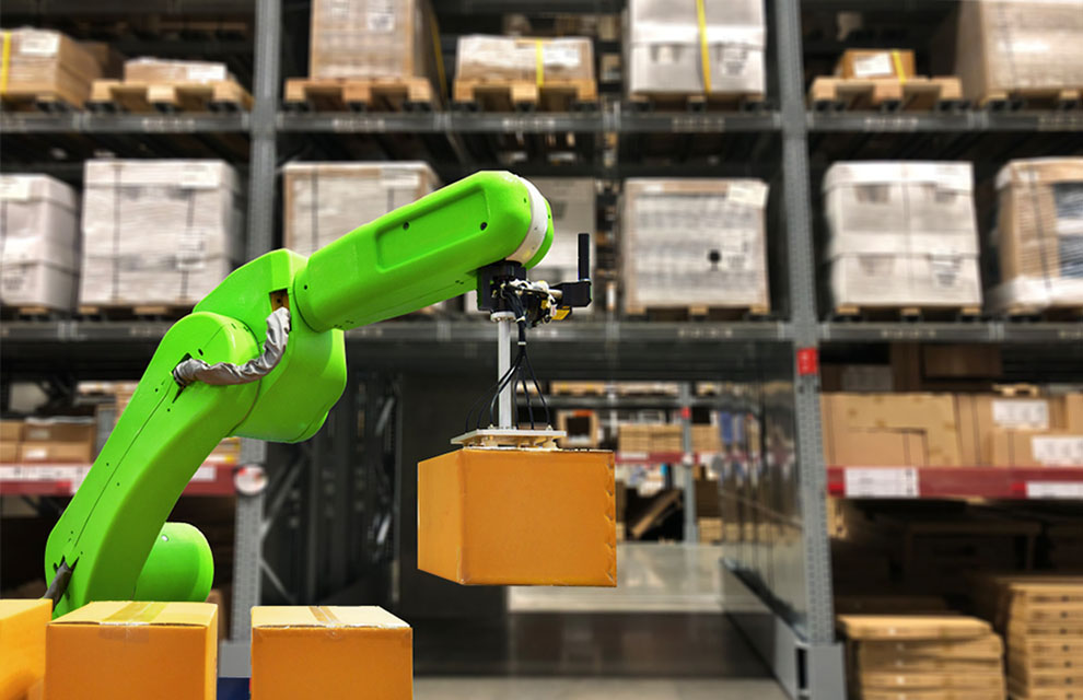 Industrial robot holding a box