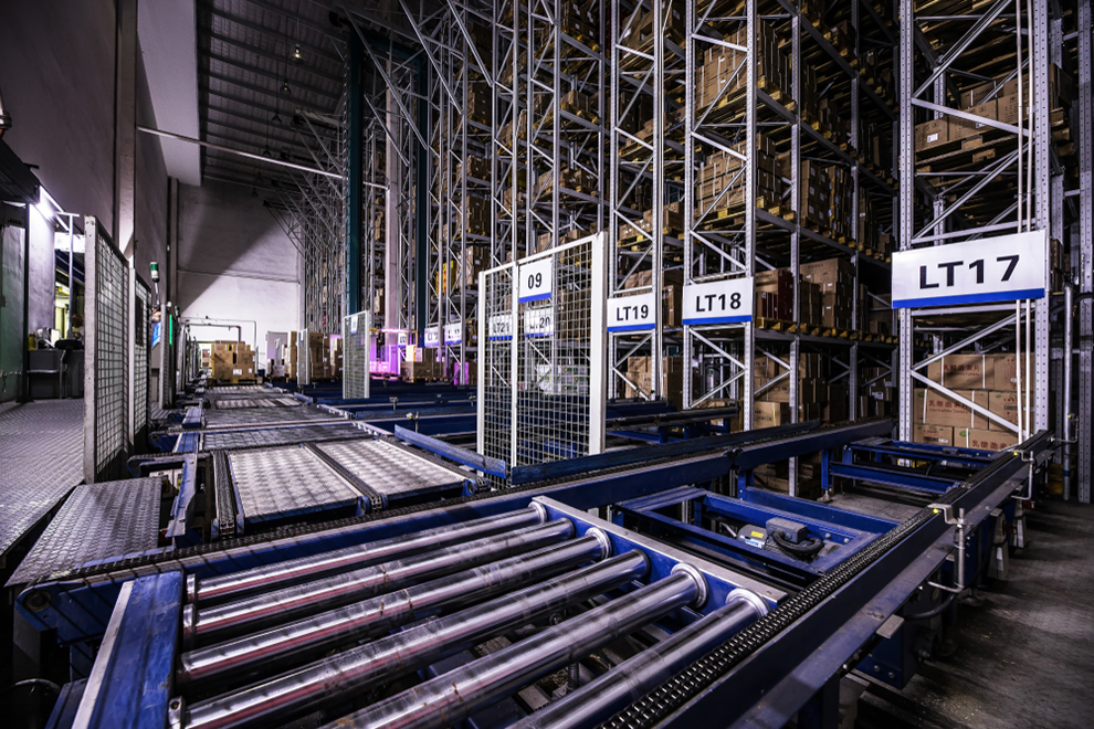 a modernized warehouse with automated production lines