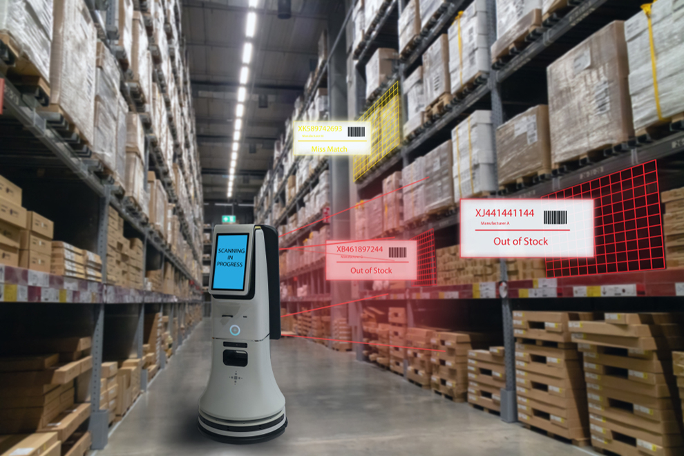 a robotic warehouse worker in an aisle