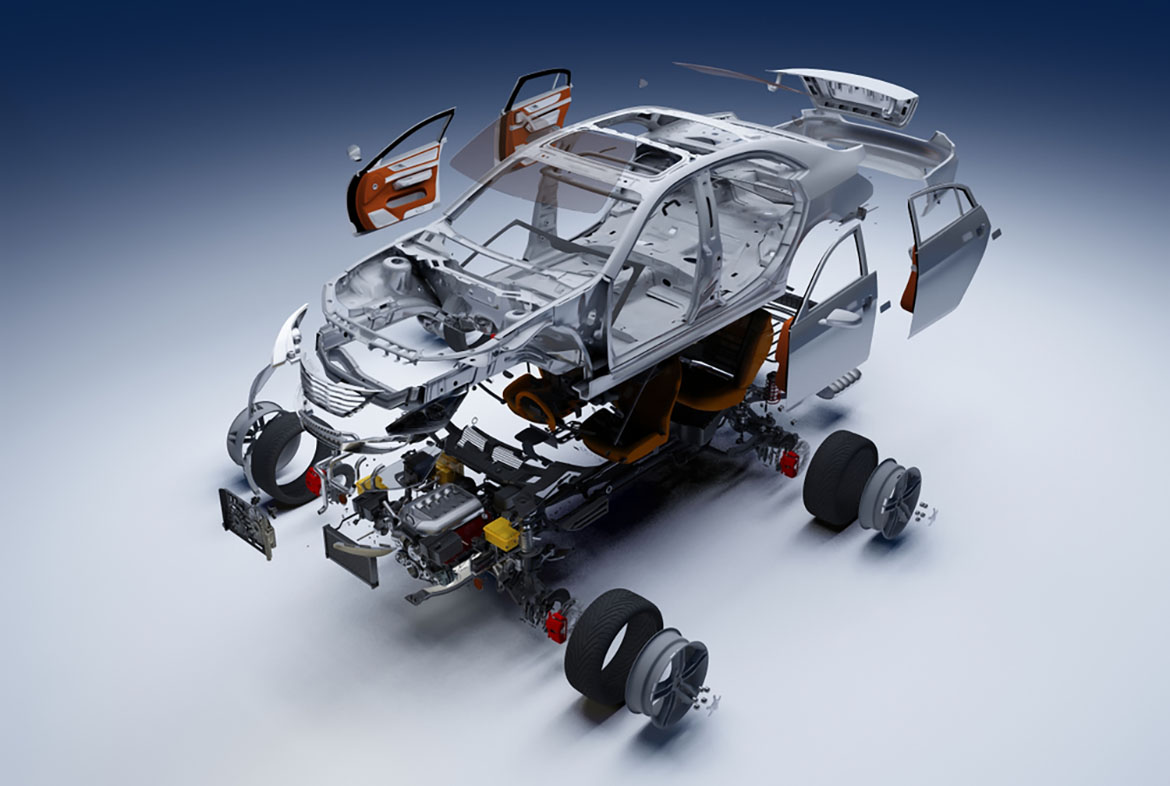 an exploded view of a car