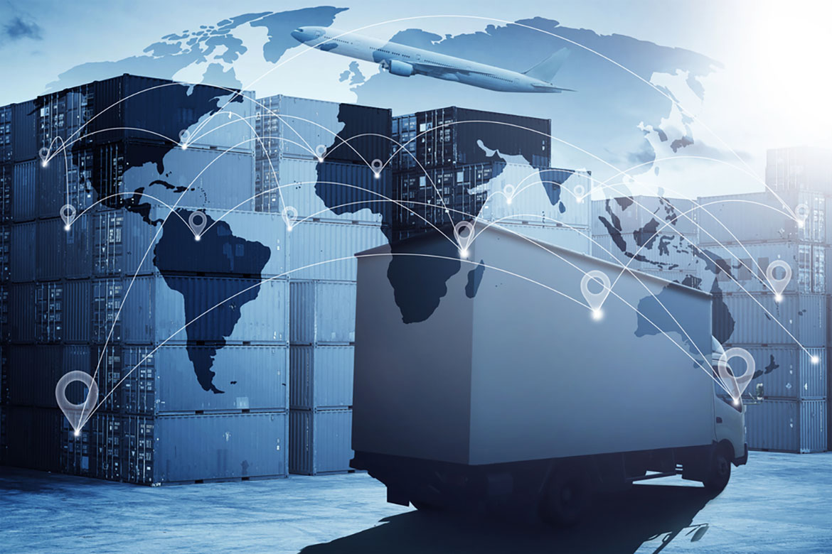 a holographic overlay of a logistics shipping map with a truck leaving a shipping yard and a plane in the background